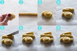 Koulourakia bunny cookies 8 steps