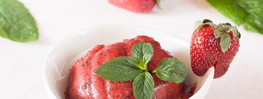 strawberry mint sorbet
