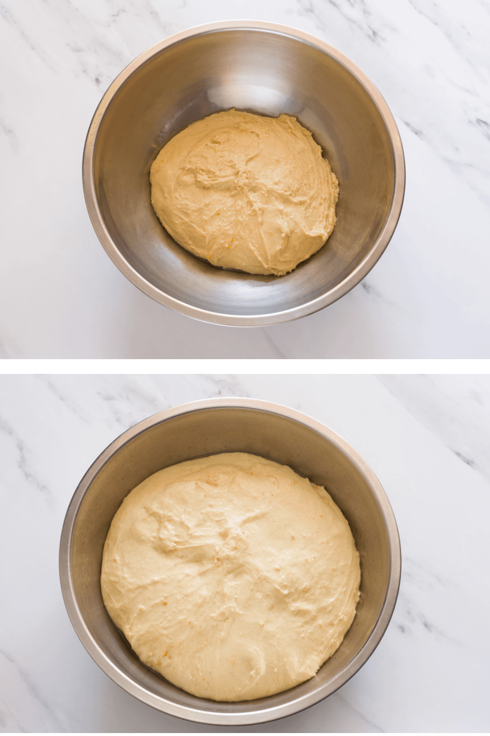 tsoureki dough before and after it rises
