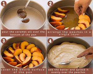 upside-down peach cake steps