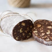chocolate salami sliced and wrapped in kitchen twine