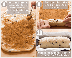 roll out dough, fill, roll up and place in pan