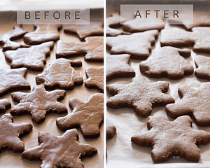 greek gingerbread cookies on tray before and after baking
