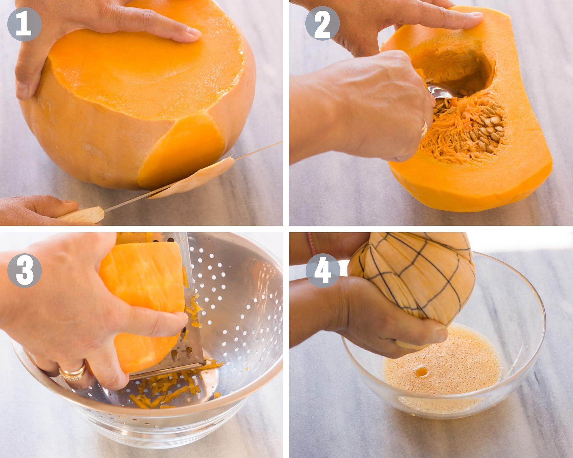 Kolokithopita Greek pumpkin hand pies steps 1-4