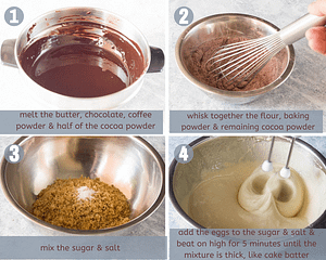 homemade brownie steps, melt butter, chocolate, coffee and cocoa powder, in a bowl whisk together flour, baking powder, and cocoa powder, in another bowl mix sugar and sal add egss and beat for 5 minutes