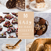 a collage of six photos of easy no bake desserts