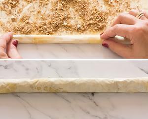 how to roll saragli baklava rolls starting from bottom