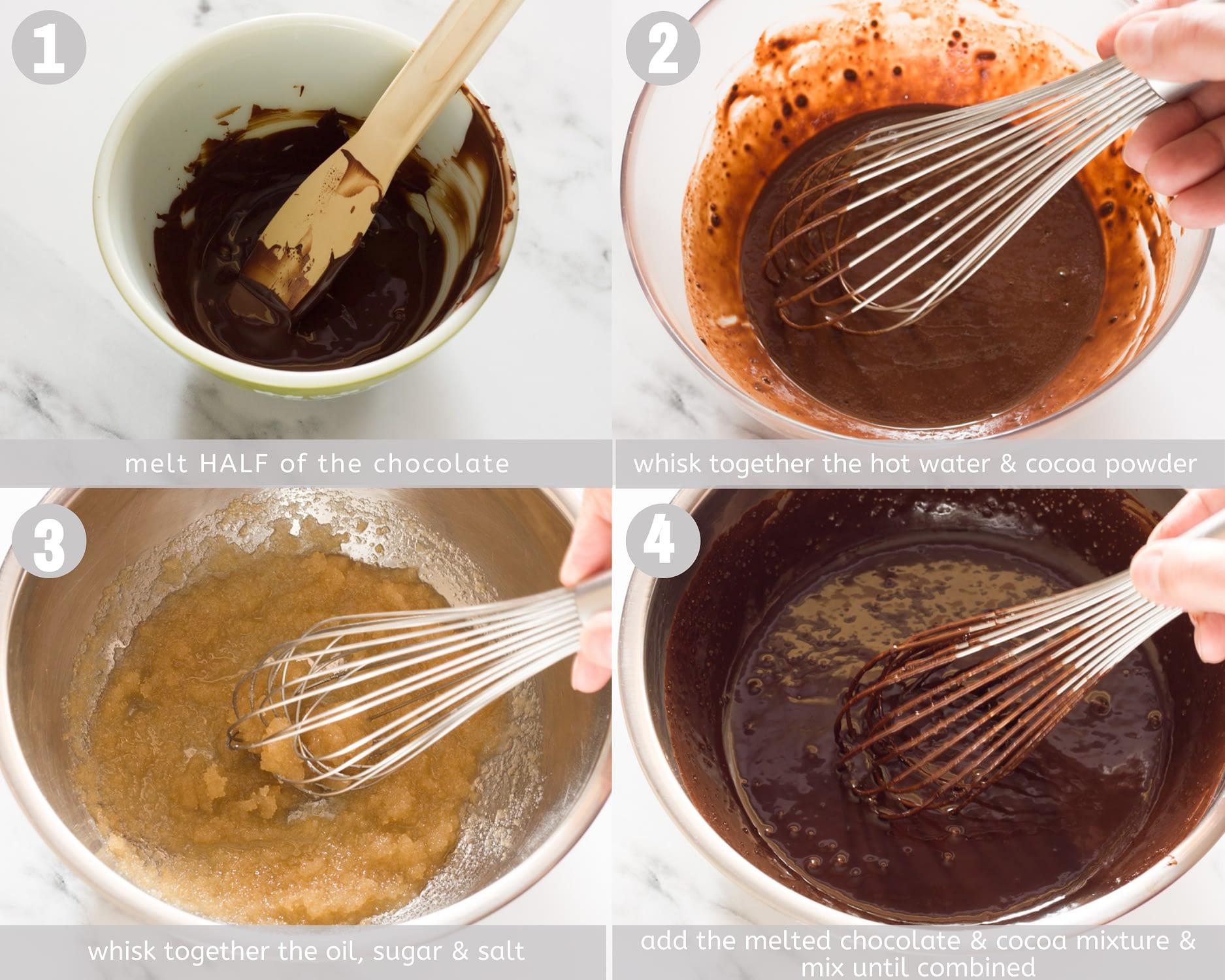 vegan brownies steps 1-4