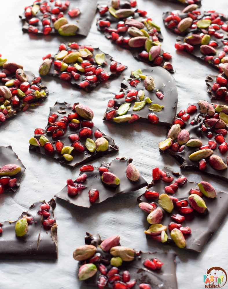 chocolate pomegranate bark broken into pieces